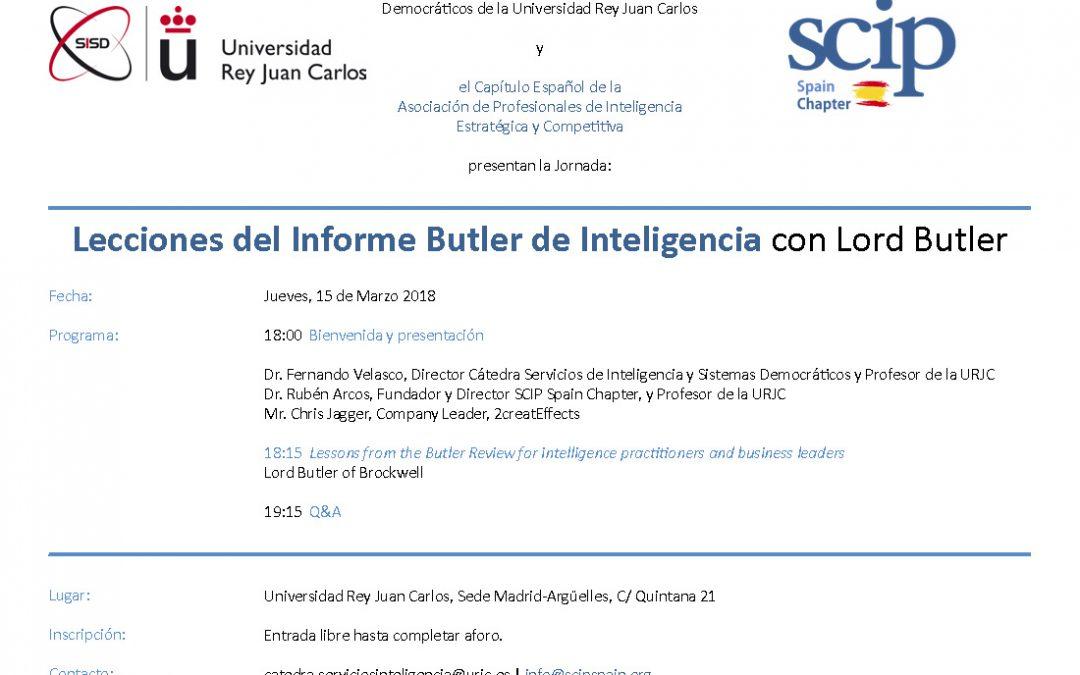 Jornada Lecciones del Informe Butler de Inteligencia con Lord Butler